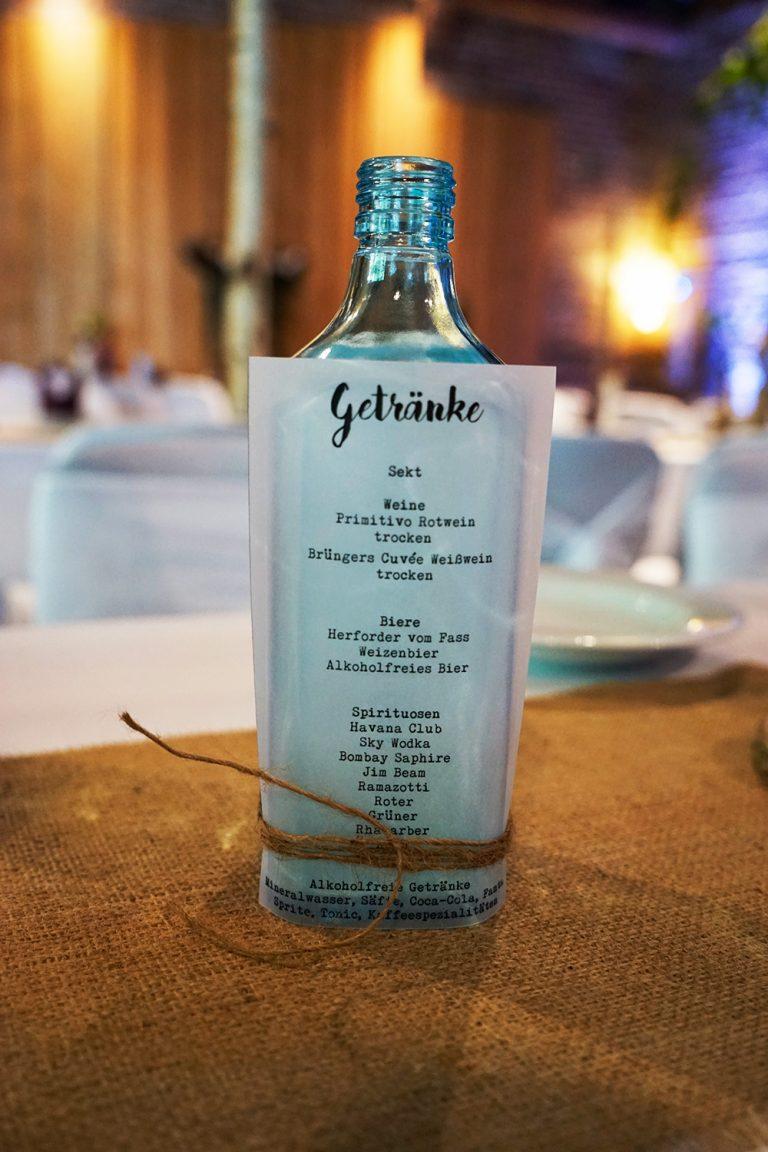 Flasche als Menü- bzw. Getränkekarte