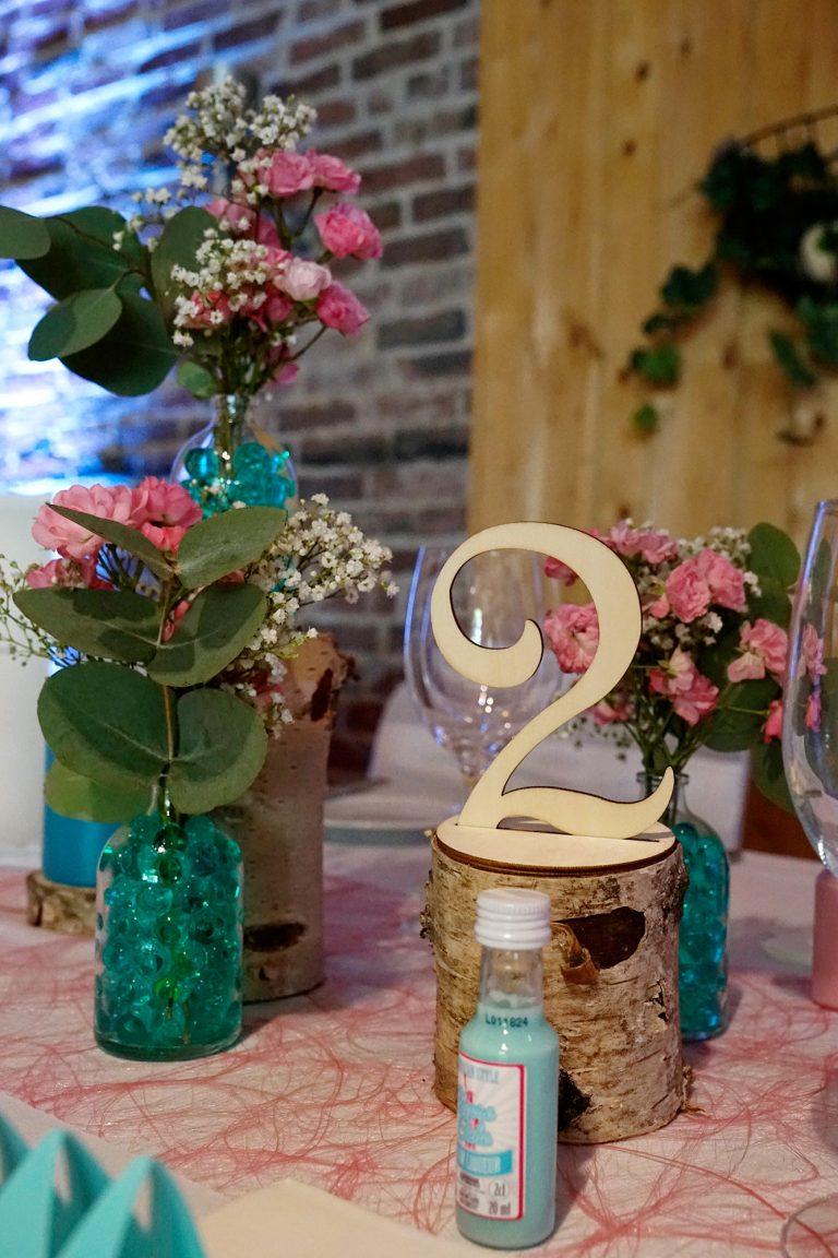 Tischnummer Vintage Holz