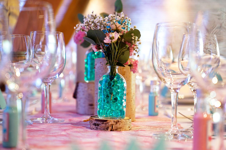 Wasserperlen Vintage Vase Holz